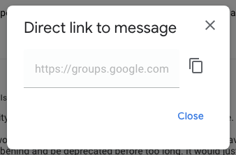 "A screenshot of the ""Direct link to message"" modal with a variety of UI elements and glyphs scattered seemingly haphazardly"